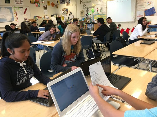 FILE: In this undated photo, students type on classroom laptops at Chalone Peaks Middle School in King City. On March 3, 2020, voters passed two bond measures totaling $35 million for the district, which has $100 million in renovation and repair needs.