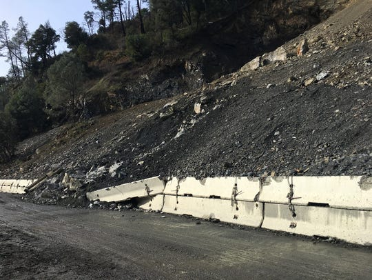 A rock slide about 25 miles west of Weaverville has