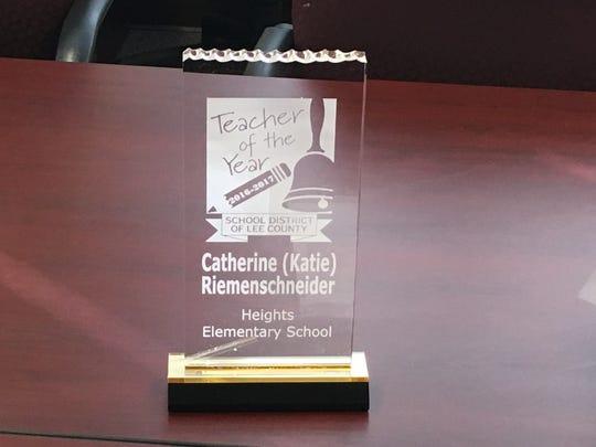Katie Riemenschneider has been named Lee County's Teacher