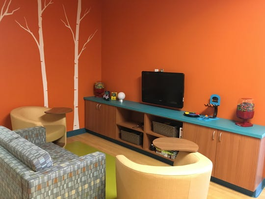 A teen lounge in the oncology infusion clinic at St.