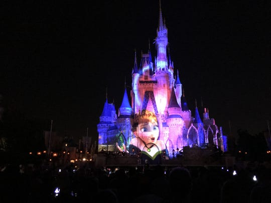 So pretty! Shown is the Magic Kingdom's Disney castle at night.