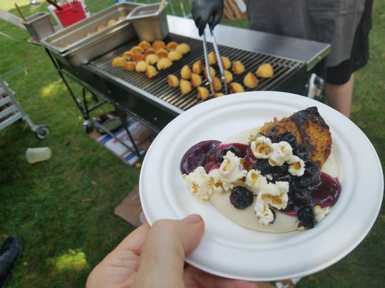 Blueberry peach cornmeal shortcake by Vida pastry chef Hattie McDaniel at the 2016 local food festival  Dig IN.
