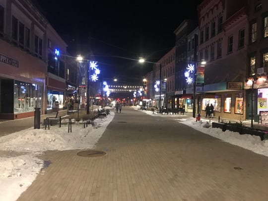 Lights on the Commons in Ithaca.