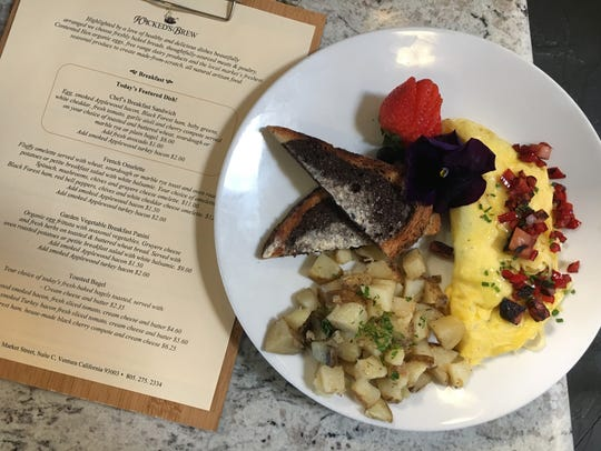 Breakfast options at Wicked's Brew in Ventura include
