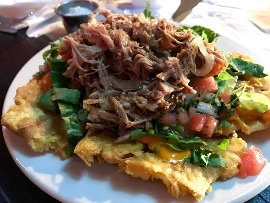 Loaded tostones from King's Kitchen in Fort Myers.