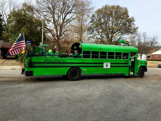 It's hard to miss the the Boll Weevils' green bus.