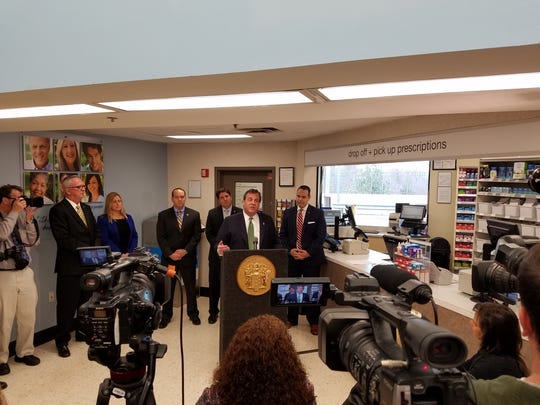 Christie speaking at a Walgreens in East Brunswick last month.