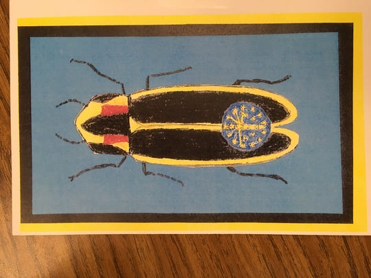 Maggie Samudio's students have created postcards and information cards with Say's firefly on them to pass out to people  in support of their efforts.