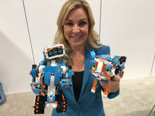 Columnist Jennifer Jolly with Lego BOOST construction