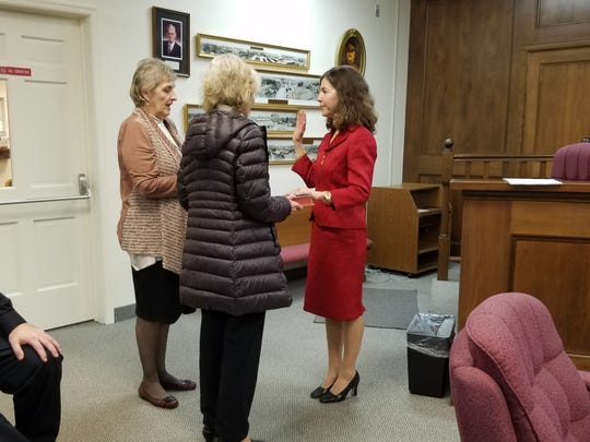 Simone Tsigounis, right, in January 2017 being sworn in by Borough Clerk Barbara Nasuto. The councilwoman lost her bid for reelection on Nov. 5, 2019 by 3 votes. She has asked for a recount.