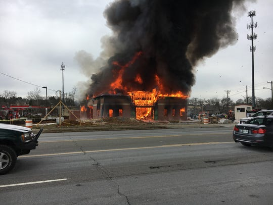 Fire rages at a construction site Thursday, Jan. 5,