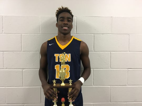 Toms River North senior forward Jaden Rhoden holds his MVP trophy from the Hoop Group at the 2017 Boardwalk Hoop Group Showcase on Saturday, Jan. 7, 2017