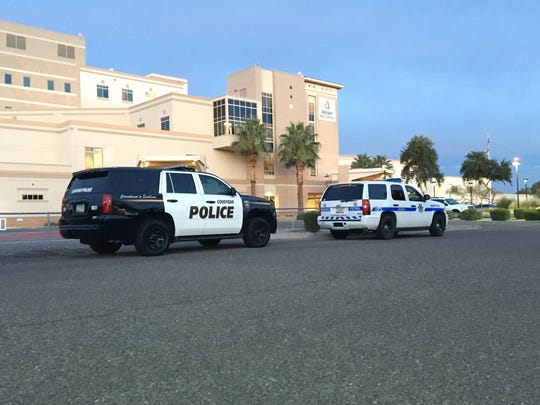 Law enforcement vehicles were parked outside the Abrazo