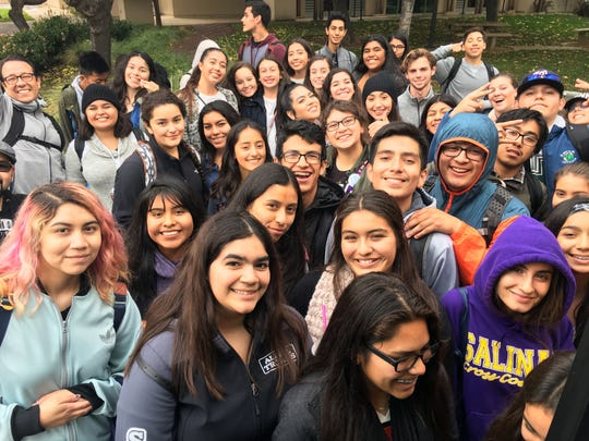 Dream Academy students stop for a quick picture while visiting Santa Clara University.