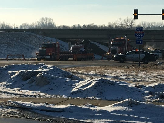 A semi fell off the I-229 bridge at Minnesota Avenue,
