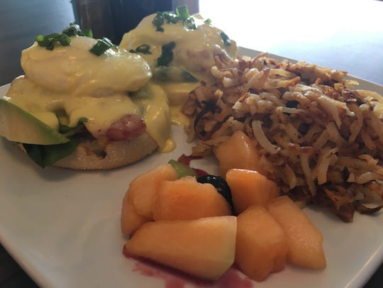 The Cali Benedict at Sammy's Breakfast bar. The melon