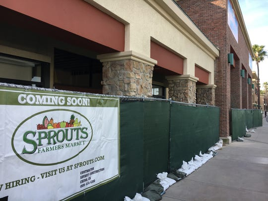 "A ""coming soon"" banner is displayed at a Sprouts location that opened in Ventura earlier in 2017."