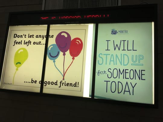 This back-lit poster was among decorations during an anti-bullying assembly at RMS.