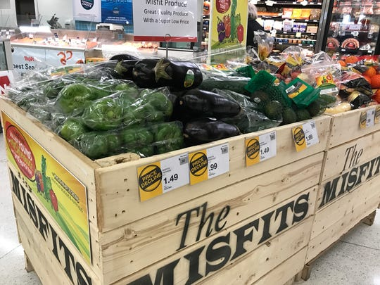 """Crates at the Hy-Vee at 3000 S. Minnesota Ave. hold so-called """"ugly"""" produce. The Misfits program is operated by produce company Robinson Fresh and available at all Hy-Vee locations."""