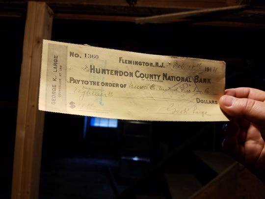 A check found in the basement of the new home of the Hunterdon County Chamber of Commerce. The basement was once the office of the Hunterdon County National Bank.