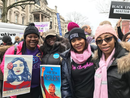 Students from Princeton Day School and their mothers march for women's rights.