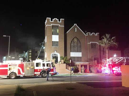 Phoenix firefighters respond to a fire Friday at the Tanner Chapel AME Church near Eighth and Jefferson streets.