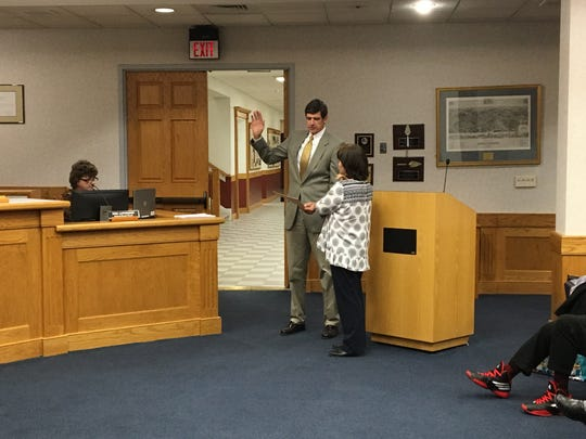 Angela Whitesell is sworn in as the newest Staunton School Board member during a meeting Monday night.