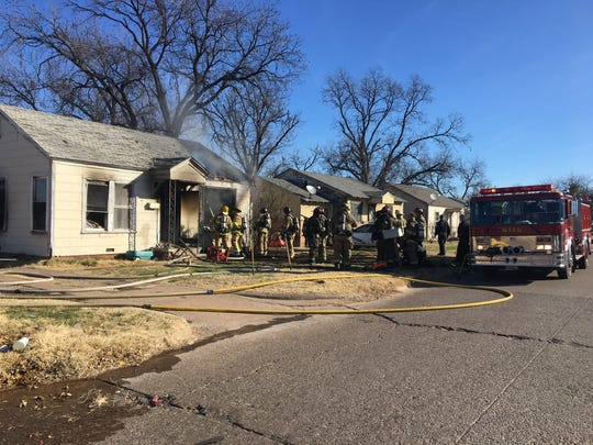 Wichita Falls firefighters wrap of after battling a house fire on North Eighth Street Tuesday morning