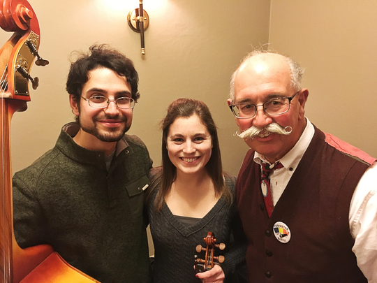 Talented trio  Charles Klein, Kaitlyn Emmert and Ray Major joined other musicians and area personalities at the 102nd Will Read and Sing for Food in Jasper's Klubhaus 61. This performance benefitted The Jasper District of St. Vincent de Paul.