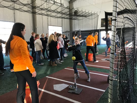 """Young fans had a chance to hit off the tees during Tennessee softball's """"Meet and Greet"""" on Saturday afternoon."""