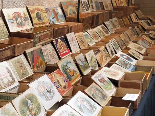 Ben LaBudde brought his collection of antique cigar boxes ranging in age from 1870 to the 1920's to the New Harmony Antiquarian Book and Paper Show.