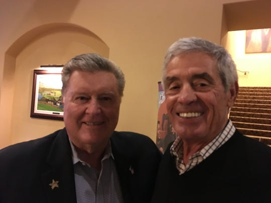 (L to R)  Past Honorees Ron Fairly and Jim Mora.