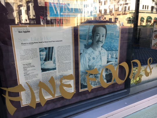 A 2006 Westways magazine feature about Tipps Thai Cuisine in downtown Ventura is displayed in a window at the restaurant, which opened in 1983.