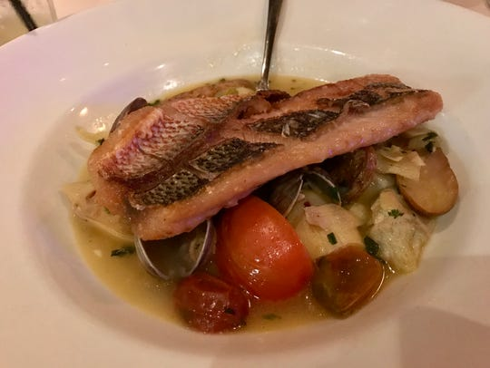 Florida snapper with clams and fingerling potatoes
