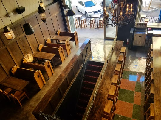 An aerial view of the main room at Cornish Pasty Co. in downtown Phoenix.