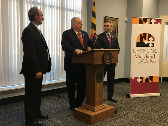 Maryland Gov. Larry Hogan, center, announces $29 million in state funding for capital projects in Salisbury and the rest of the Lower Shore on Monday, Feb. 13. With him are Wicomico County Executive Bob Culver, left, and Salisbury Mayor Jake Day.