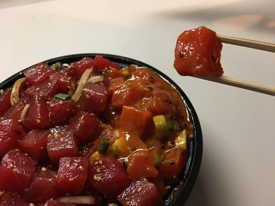 The kimchi ahi was the star of the Hawaiian Poke Bowl.
