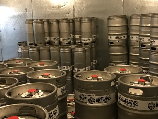 Kegs at Stable Craft Brewing outside of Waynesboro.