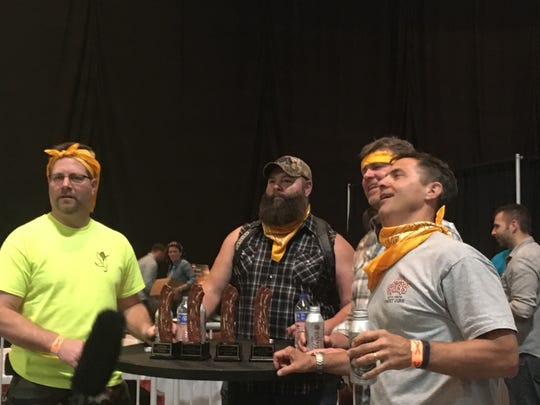 The Baconators won the Blue Ribbon Bacon Festival's team bacon-eating contest.