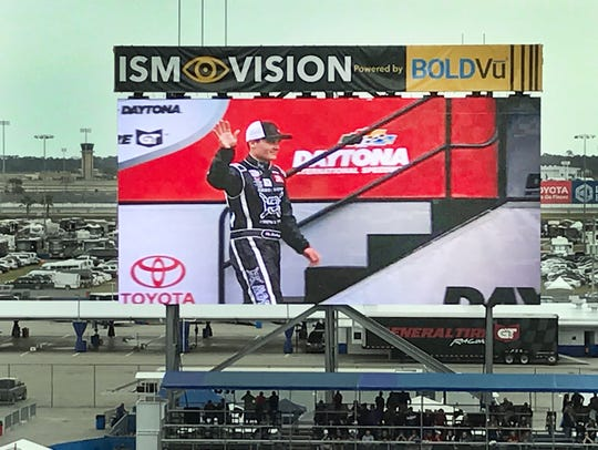 Quin Houff on the screen at Daytona as he is introduced