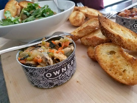 The mussels escabeche, canned in-house at The Owner's