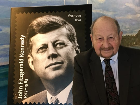 Fishkill resident Ted Spiegel and the President John F. Kennedy stamp. Spiegel 's photo of Kennedy was used for the stamp.