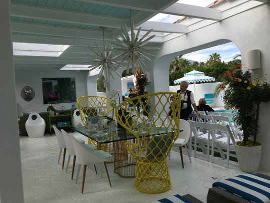 "This large covered patio at Villa Golightly, the location of the 2017 Christopher Kennedy Compound for Palm Springs Modernism Week, is an example of Kennedy's work.  His work will again be featured on HGTV's ""House Hunters Renovation"" on Aug. 19, 2017.  (Photo from Feb. 21, 2017)"