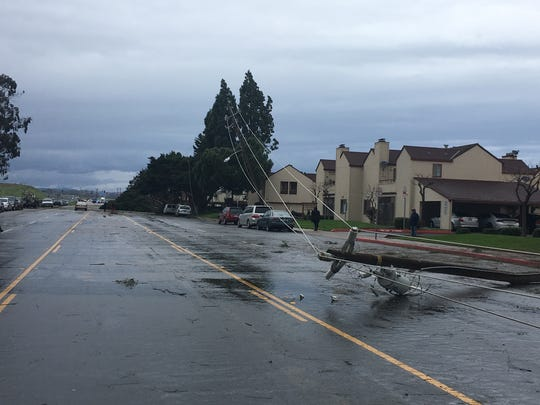 A power pole fell on North Main Street during the Friday storm.