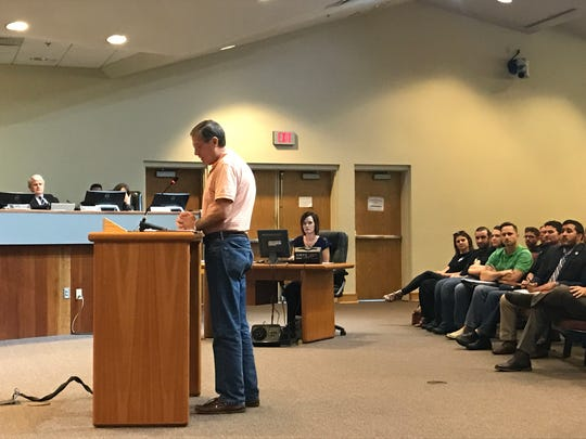 Milton resident Jack Bonney addresses the Santa Rosa County Board of Commissioners on Thursday, Feb. 23, 2017 to express his support for an ordinance expanding the sale of the hours of sale of alcohol in unincorporated areas of the county.