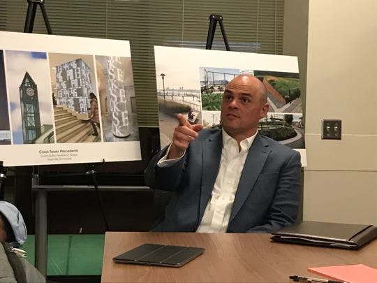 Metro Planning Director Doug Sloan at a Feb. 22 community meeting talks about a planned pedestrian bridge that will connect the SoBro and Gulch neighborhoods.