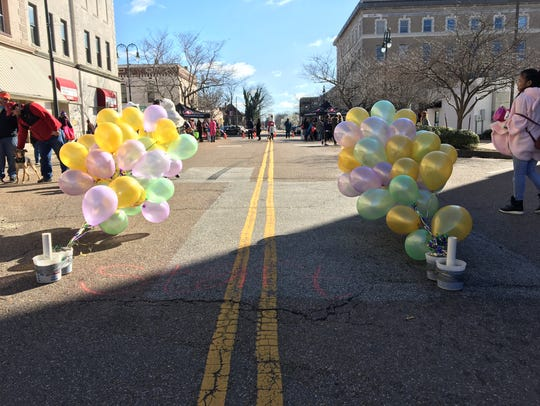 Balloons line the parade route for the 2017 Jackson Kids' Mardi Gras Parade and Block Party.