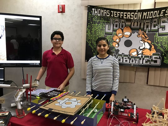 Students from Thomas Jefferson Middle School participate in a CTE Month event.