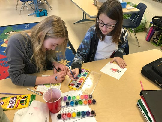 Stangel Elementary School sixth-graders in Manitowoc will auction off a variety of their artwork at the school March 16 to raise funds for their service project.