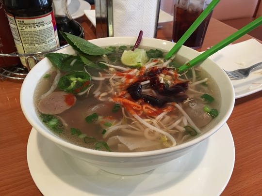 Ah'sya's beef pho is overflowing with noodles, meat